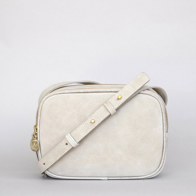 Cruz crossbody in latte from front