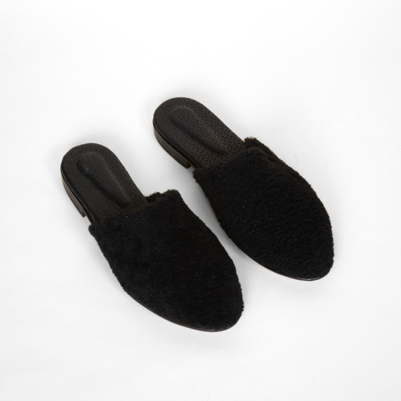 Catalina mules in black from top