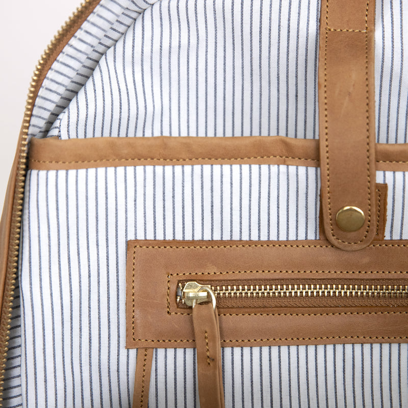 Gaucho backpack in Aged Tan internal detail