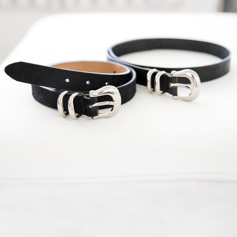 Laurel belt in Black and Back Cowhide