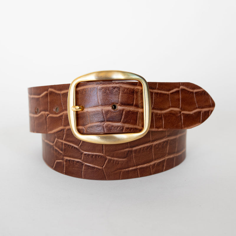 Nui belt in croco tan