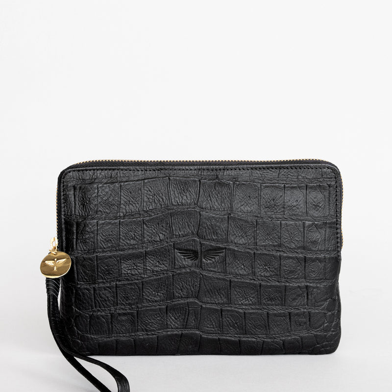 Pouch wallet in Black croc front