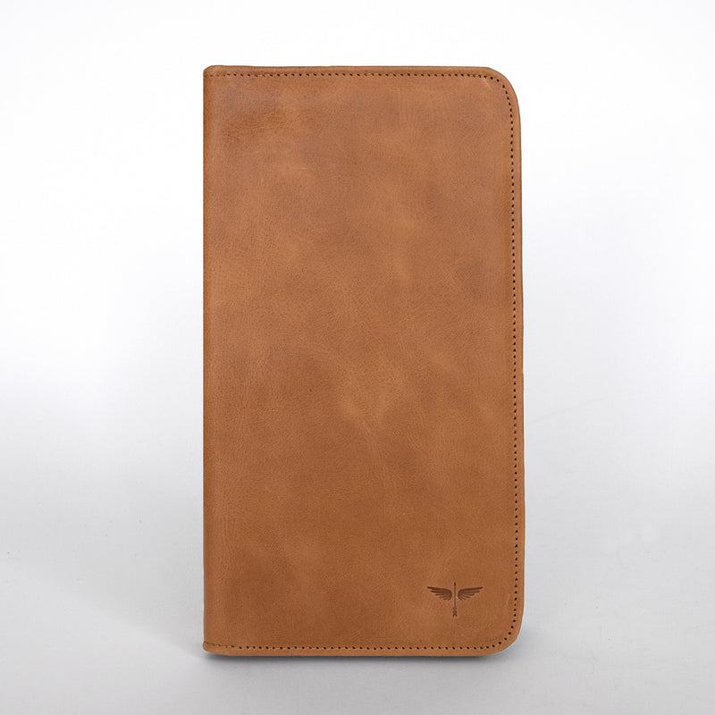 Travel Wallet in Aged Tan Front