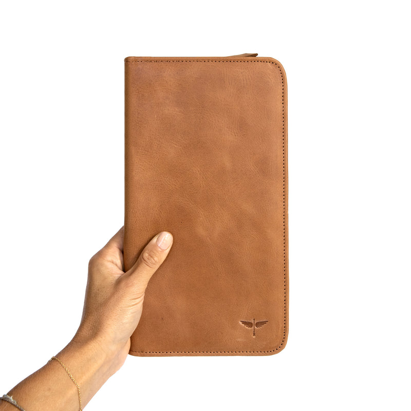 Travel Wallet in Aged Tan in Hand