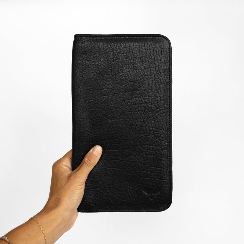 Travel Wallet in Black in Hand