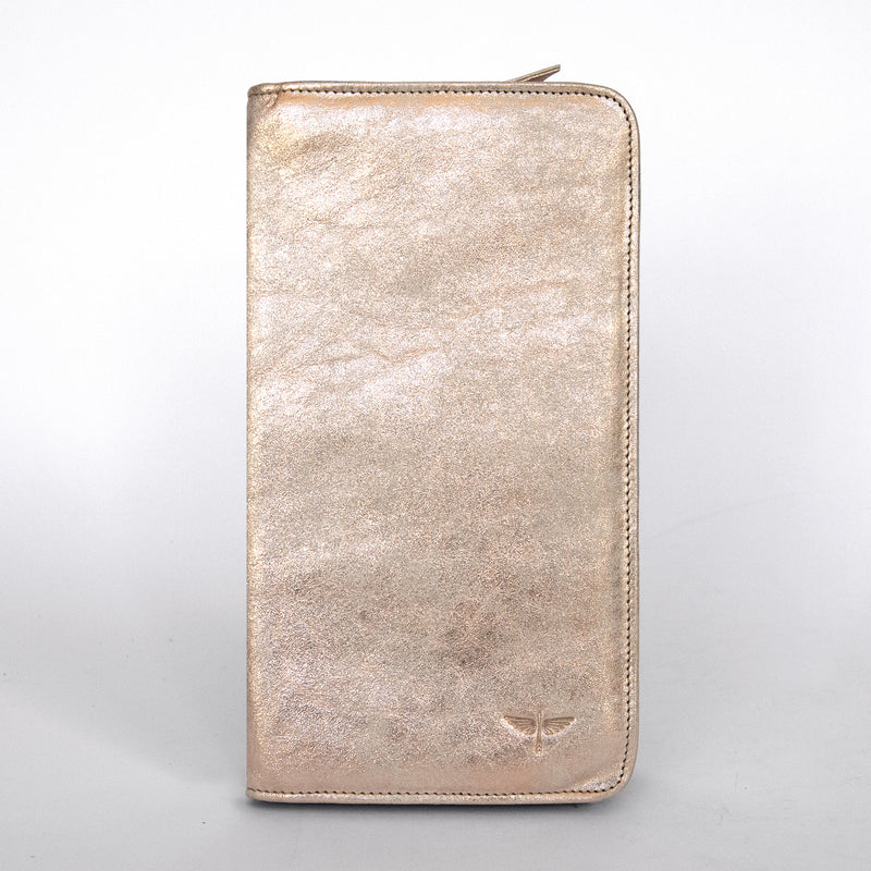 Travel Wallet in Rose Gold Front
