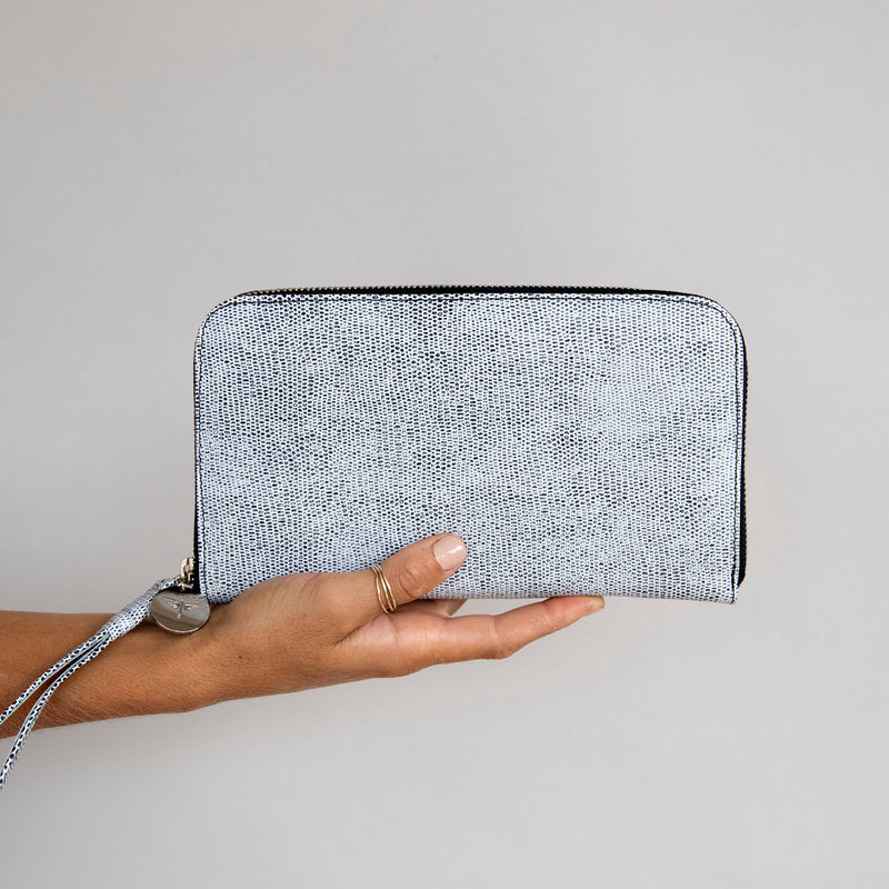 Zip Around Wallet in Komodo Grey front in hand