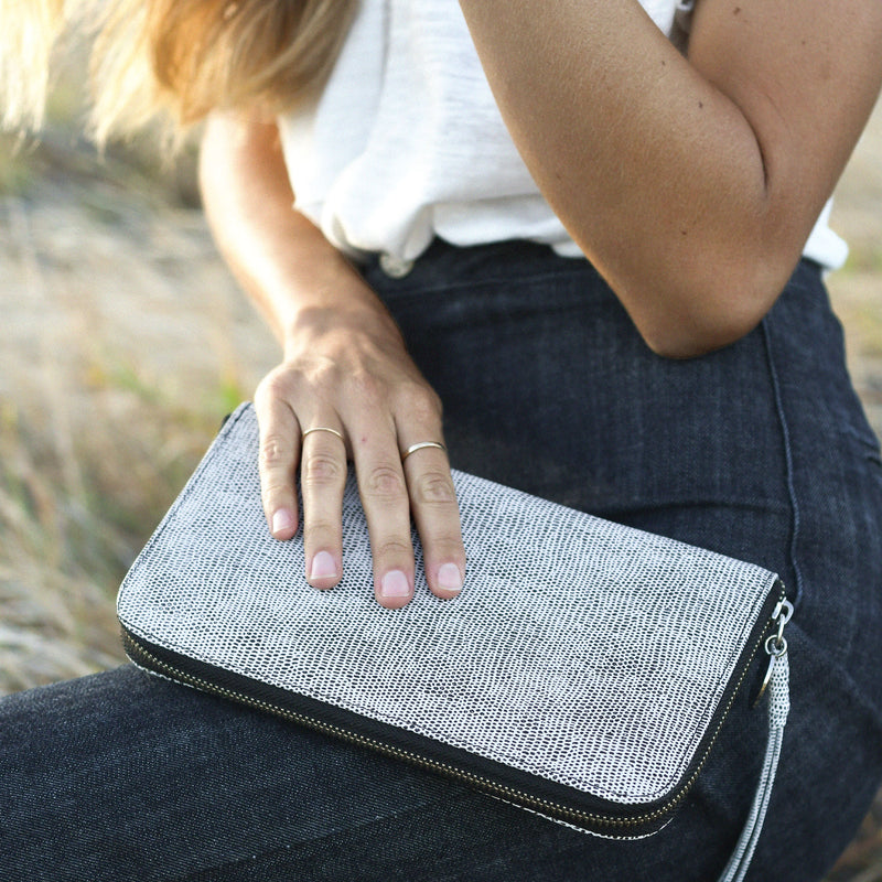 Zip Around Wallet in Komodo Grey on model