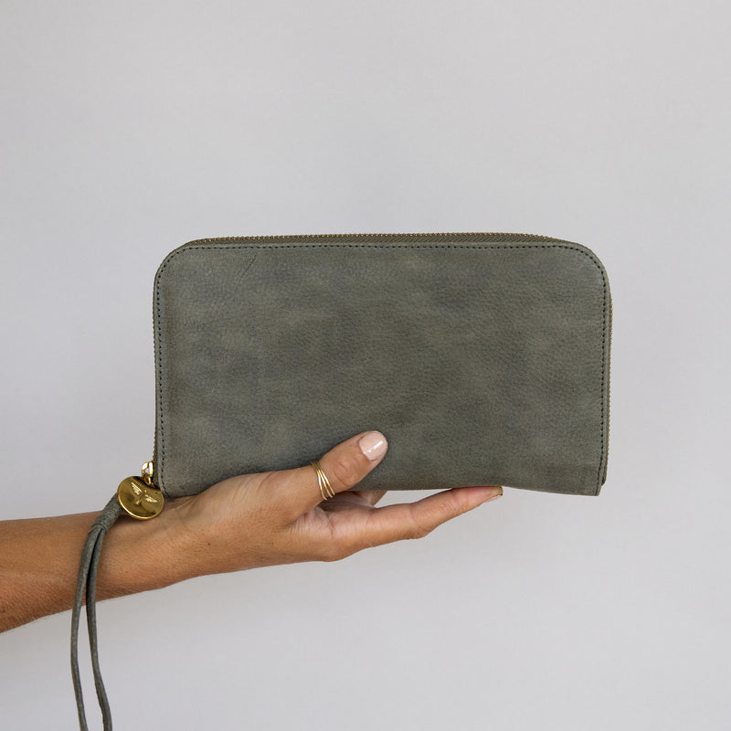 Zip Around Wallet in Military front in hand