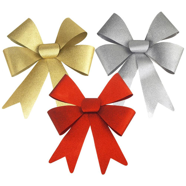 Christmas Plastic Large Bows with Glitters, Gold/Silver/Red, 24-Inch, 3-Piece
