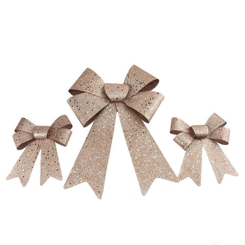 Glittered Plastic Christmas Bows, Rose Gold, 3-Piece