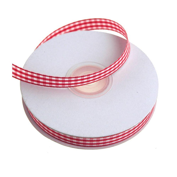 Gingham Christmas Ribbon, 3/8-Inch, 25 Yards, Red