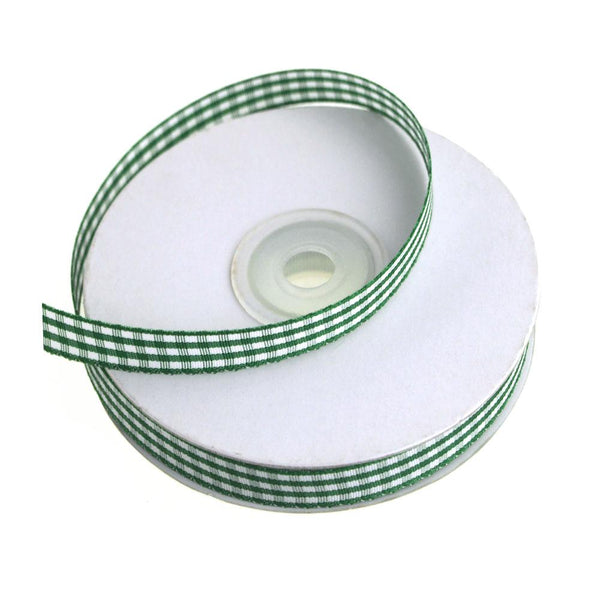 Gingham Christmas Ribbon, 3/8-Inch, 25 Yards, Emerald Green