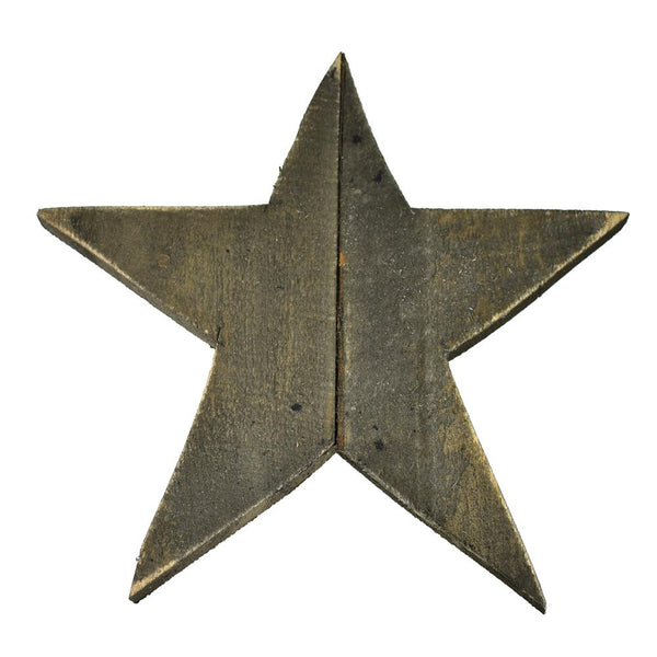 Natural Five Point Solid Wooden Star, 17-Inch