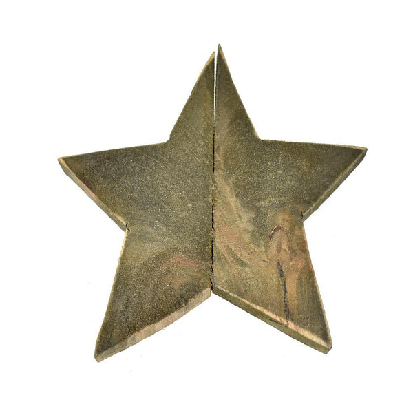 Natural Five Point Solid Wooden Star, 11-Inch