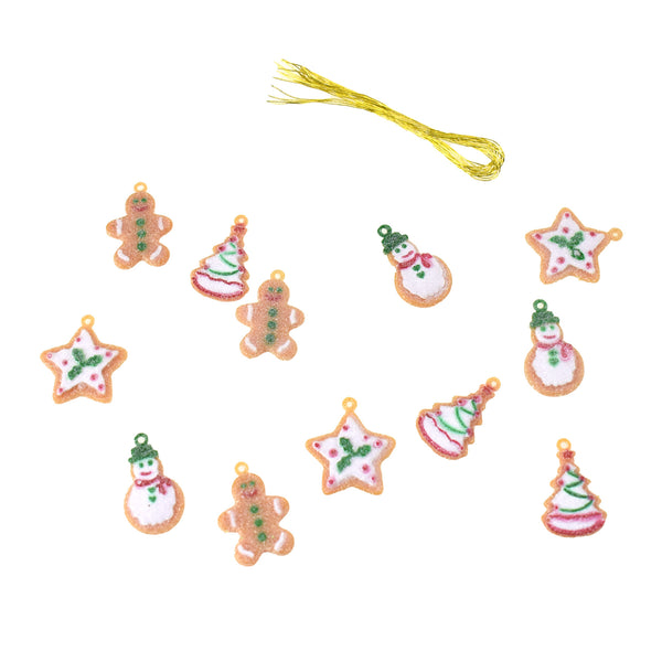 Miniature Gingerbread Christmas Ornaments, 1-Inch, 12-Piece
