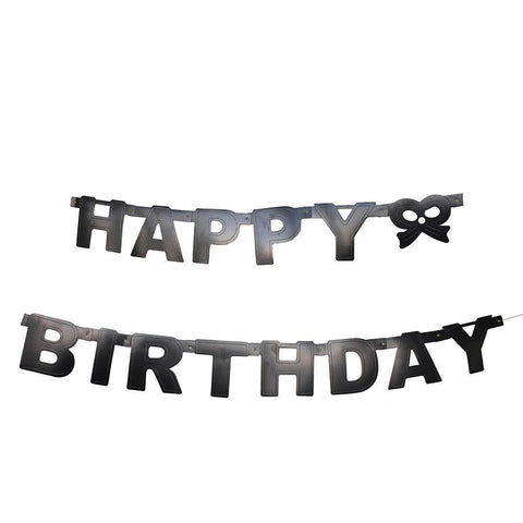 """Happy Birthday"" Letter and Bow Banner, 4-1/4-Inch, 5-Feet, Black"