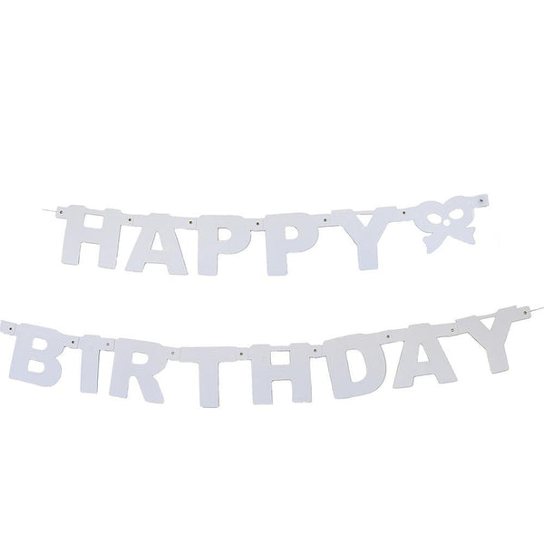 """Happy Birthday"" Letter and Bow Banner, 4-1/4-Inch, 5-Feet, White"