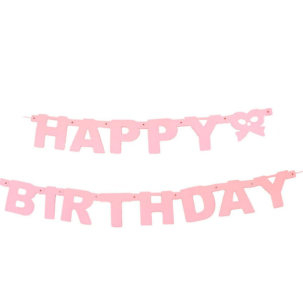 """Happy Birthday"" Letter and Bow Banner, 4-1/4-Inch, 5-Feet, Pink"