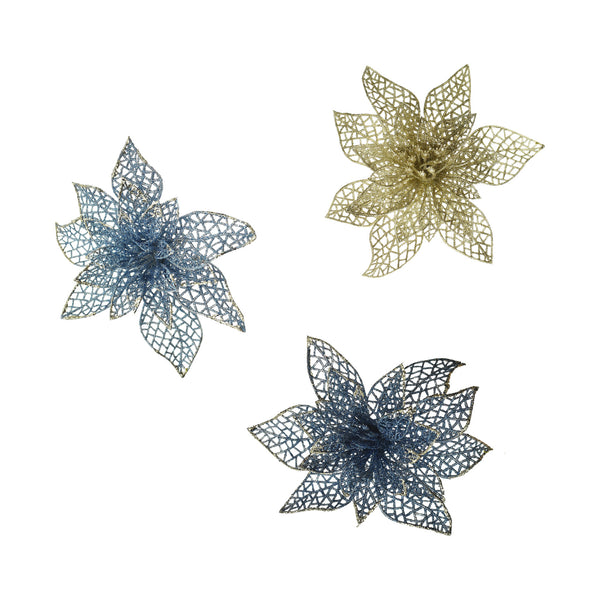 Clip On Glitter Lace Poinsettias Christmas Decoration, Navy Blue, 5-1/2-Inch, 3-Piece
