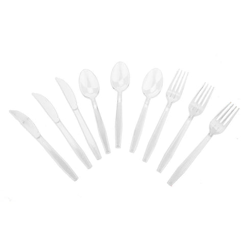 Transparent Plastic Cutlery, Assorted Sizes, 24-Piece, Clear