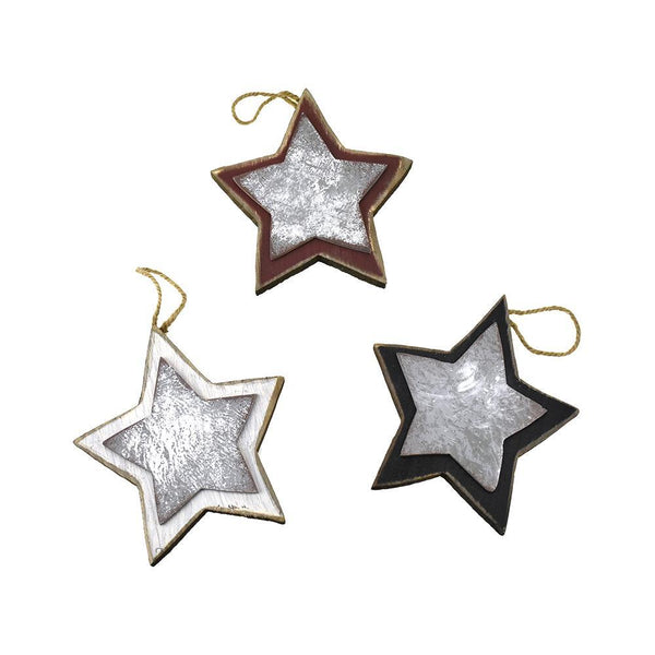 Wood and Metal Hanging Stars, 7-1/4-Inch, 3-Piece