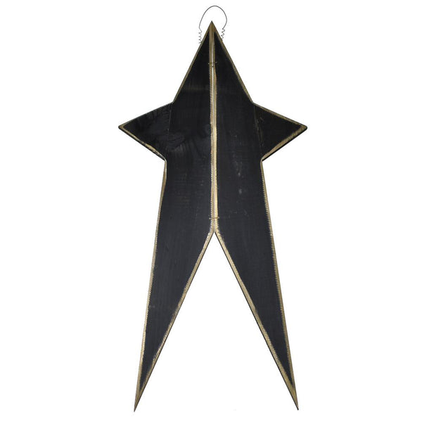 Five Point Painted Long Wooden Star, Black, 24-Inch