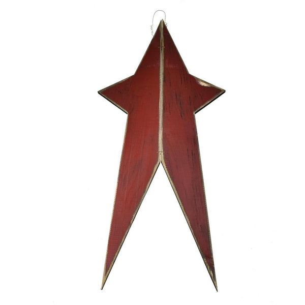 Five Point Painted Long Wooden Star, Burgundy, 36-Inch
