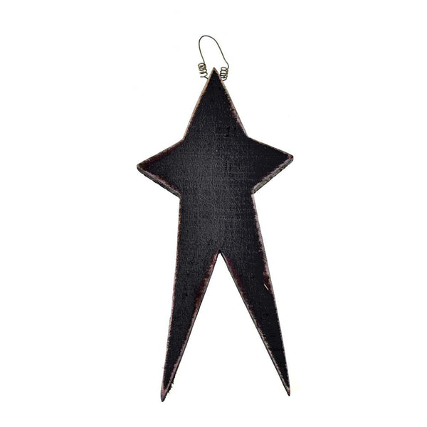 Five Point Painted Long Wooden Star, Black, 12-Inch