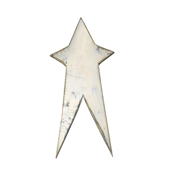 Five Point Painted Long Wooden Star, Cream, 12-Inch