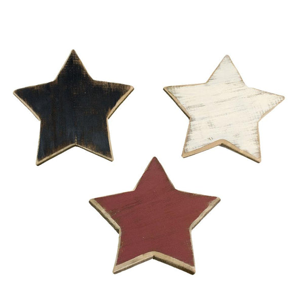Five Point Painted Wooden Stars, Assorted Colors, 7-Inch, 3-Piece