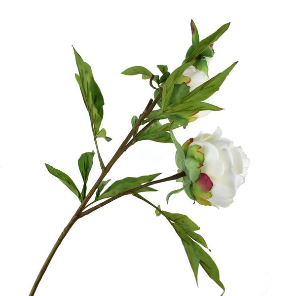 Blooming Silk Peony Spray Branch, 28-Inch, White