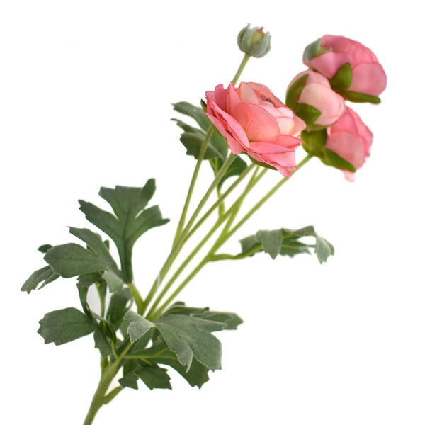 Blooming Silk Ranunculus Spray, Peach Pink, 26-Inch