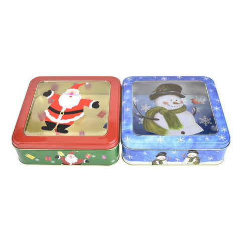 Christmas Cookie Tin Square Containers, Snowman/Santa, 2 Styles, Red