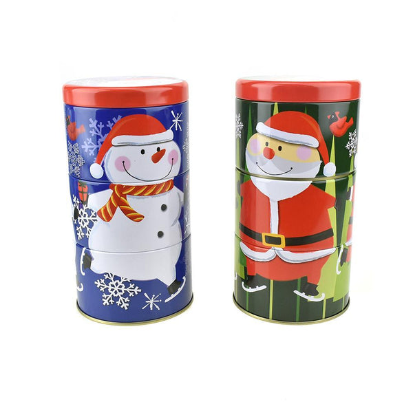 Three-Tiered Stackable Christmas Tin Canisters, 7-1/4-Inch, 2-Piece