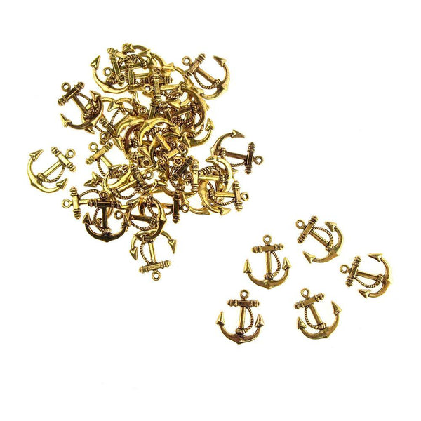 Metal Nautical Anchor Charms, Gold, 3/4-Inch, 36-Count