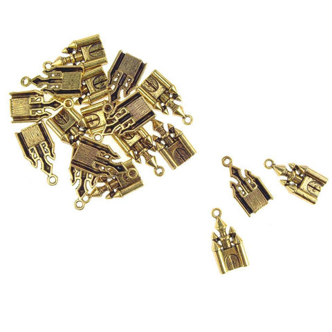 Antique Style Metal Castle Charms, Gold, 1-Inch, 18-Count