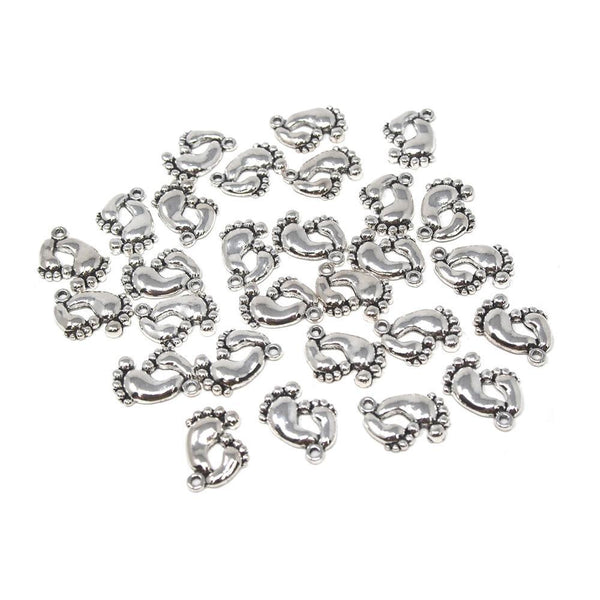 Small Baby Footprint Metal Charms, Silver, 3/4-Inch, 28-Count