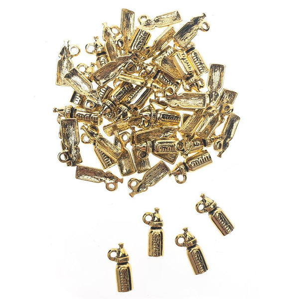 Baby Bottle Metal Charms, 5/8-Inch, 50-Count, Gold