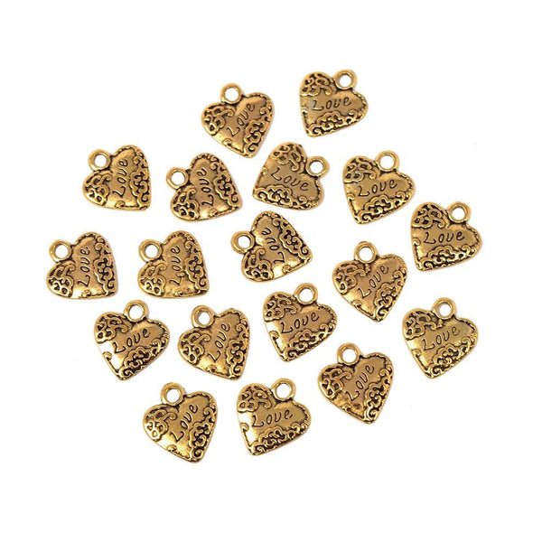 Small Heart w/ Love Metal Charms, Gold, 3/4-Inch, 18-Count