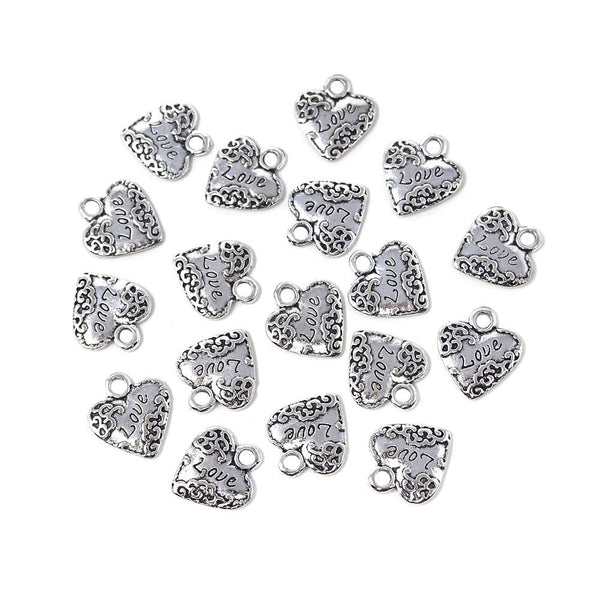 Small Heart w/ Love Metal Charms, Silver, 3/4-Inch, 18-Count