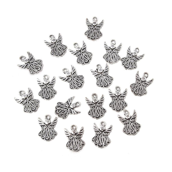Small Cute Angel Metal Charms, Silver, 3/4-Inch, 18-Count