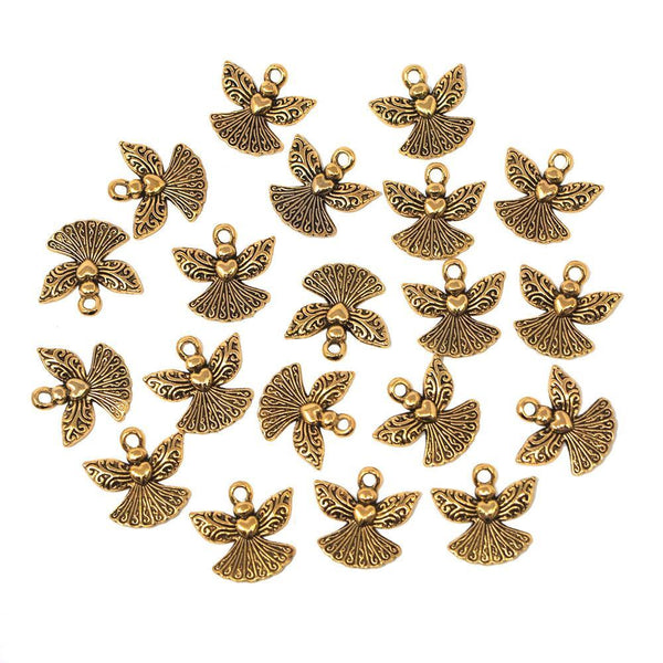 Small Angel Metal Charms, Gold, 3/4-Inch, 20-Count
