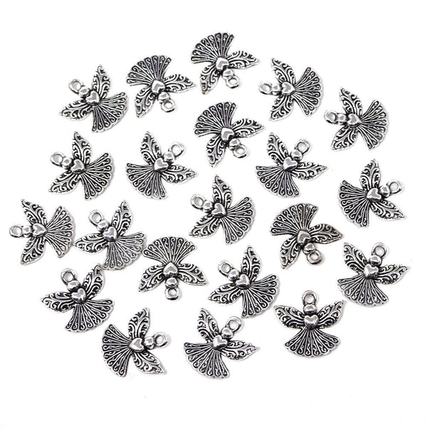 Small Angel Metal Charms, Silver, 3/4-Inch, 20-Count
