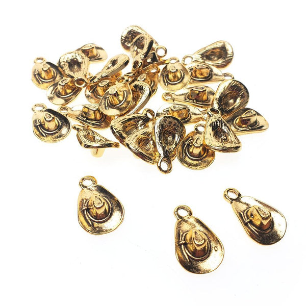 Cowboy Hat Metal Charms, 5/8-Inch, 30-Count, Gold