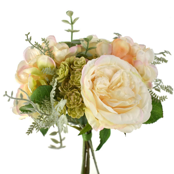 Silk Rose and Hydrangea Bouquet with Succulents, Cream Peach, 11-Inch