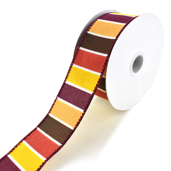 Frida Stripes Wired Ribbon, Yellow/Cranberry/Chocolate, 1-1/2-Inch, 10-Yard