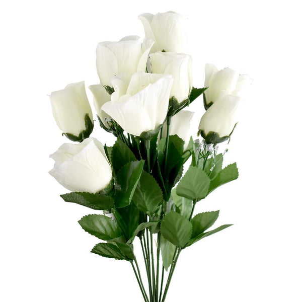 Artificial Flower Rose Bud Bush, Cream, 19-Inch