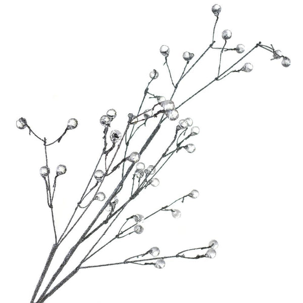 Glitter Beaded Berry Spray Branch, Silver, 25-Inch