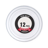 Disposable Deluxe Plastic Plates with Stamping Ring, 7-1/2-Inch, 12-Count